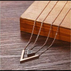 Jewelry - Triangle V Shaped Pendant Layer Necklace